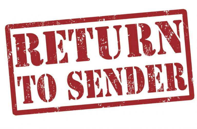 Return to Vendor should not become Return to Sender